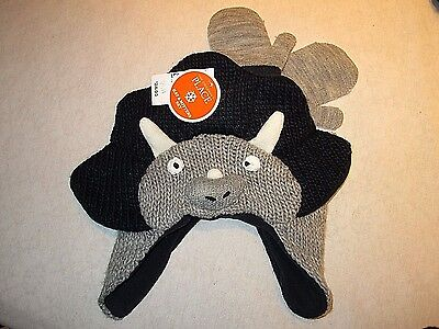 Boys Winter hat & mittens, size 4T-5T.  Childrens Place.  Dinosaur? Monster? NEW