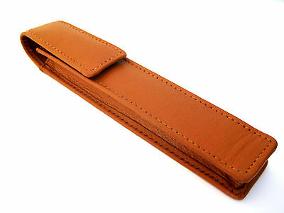 Tan REAL Napa Leather Single Magnetic Flap Pen/Pencil  Case/Pouch