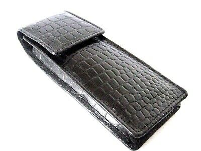 Black Leather Triple Crocodile Pattern Pen Case/Pouch. Hard Case