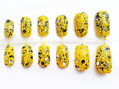 Handpainted False Nails, Yellow Design with Nail Effects