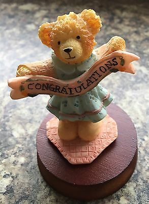 "REGENCY FINE ARTS ""Congratulations"" Boxed Teddy Bear Figure On Wooden Plinth"