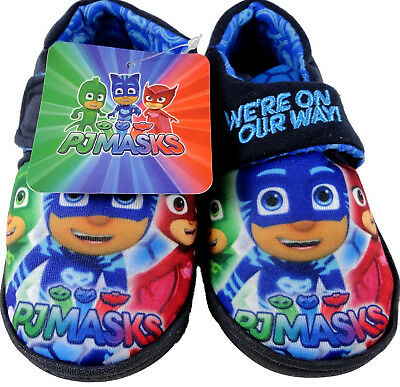 Boys PJ Masks Navy Soft Touch Character House Slipper Shoes