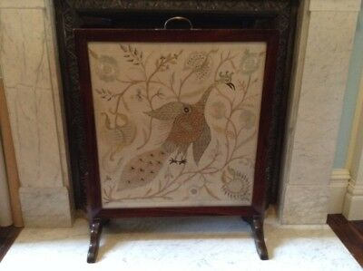 19th Century English Mahogany Peacock Framed Fire Screen Great Condition