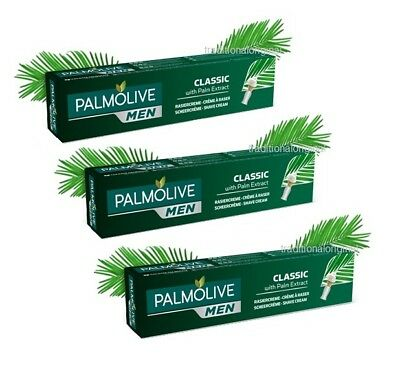 3x Palmolive Shaving Cream for Men - CLASSIC 3x 100ml - with Palm Extract Boxed