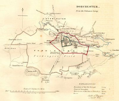 DORCHESTER town/borough plan. REFORM ACT. Charminster. Dorset. DAWSON 1832 map