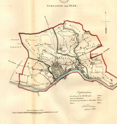 NEWCASTLE UPON TYNE borough/town/city plan. REFORM ACT. DAWSON 1832 old map