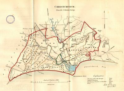 CHRISTCHURCH town/borough plan. REFORM ACT. Mudeford. Dorset. DAWSON 1832 map