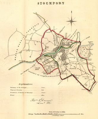 STOCKPORT borough/town plan. REFORM ACT. Cheshire. DAWSON 1832 old antique map
