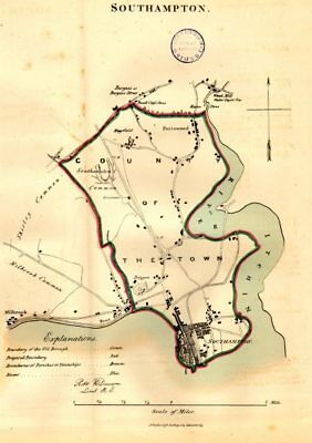 SOUTHAMPTON town/borough/city plan. REFORM ACT. Portswood. DAWSON 1832 old map