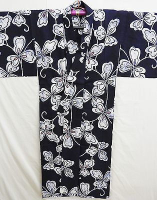 Authentic Vintage Japanese All Cotton Yukata Kimono Rouketsuzome Dyed Robe Gown