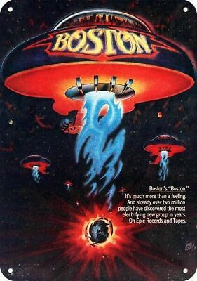 1977 BOSTON Band Album Release Replica Metal Sign - UFO SPACESHIP Art