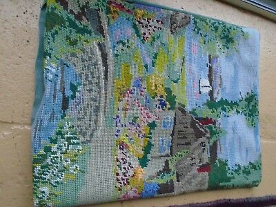 Vintage / Retro Circa 1980's Tapestry Needlepoint Cushion  Cover - Hand Stitched