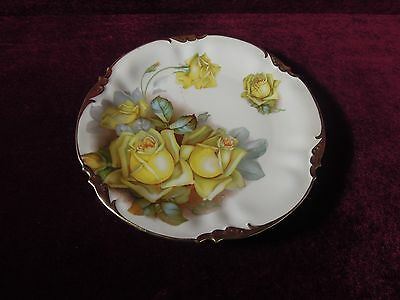 Prov Saxe China Plate Yellow Roses  Made  in Germany