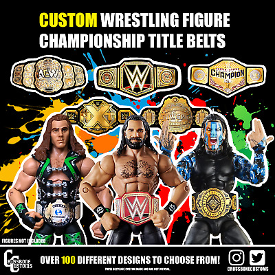 Custom WWE/WWF/IWGP/ROH Title Belts For Jakks/Mattel Wrestling Figures