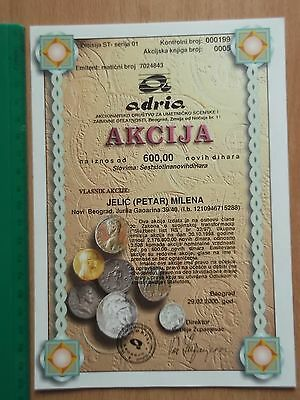 ADRIA SHARES joint stock shareholding bond stock,Serbia Yugoslavia 2000,COIN bon