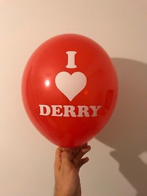 IT Movie red balloon Pennywise clown Fancy Dress I Love Derry Halloween