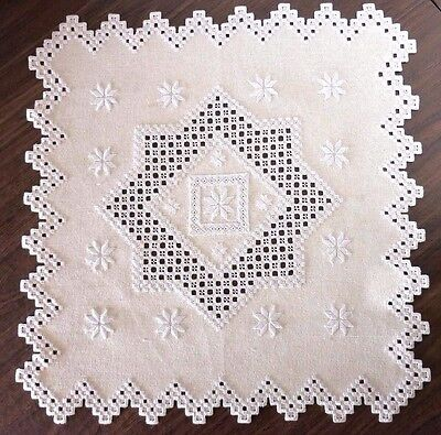 """Hand Embroidered Hardanger Table Topper - Doily - Bisque - 19 3/4"""" Square"""