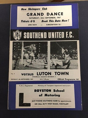 04/09/1967 Southend United v Luton Town (Champions)