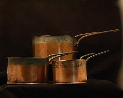 Set Of 3 Antique Maker-Signed, Lidded, Tinned Copper Pans