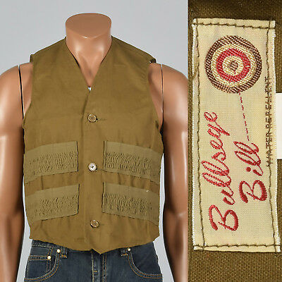 XL 1950s Mens Cotton Canvas Shooting Vest Outdoor Wear Hunting Fall NOS 50s VTG