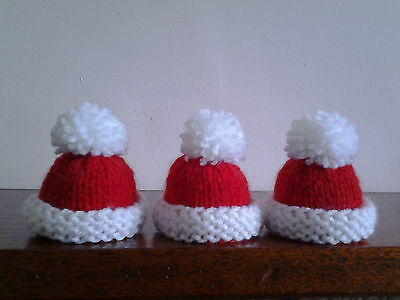 3 Christmas Hat Hand Knitted Egg Cosies / Bottle Toppers.