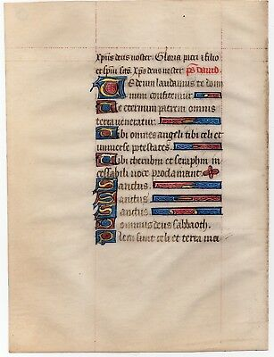 Hours of the Virgin Illuminated Medieval Manuscript Leaf 1470 book of hours