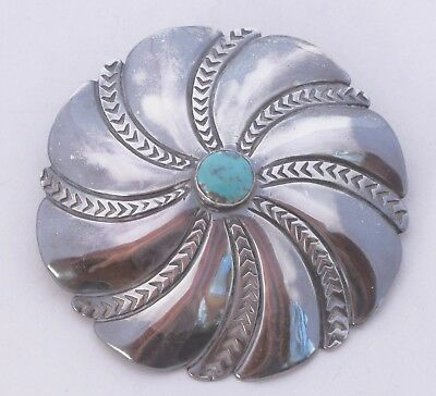 Navajo Native American sterling silver & Turquoise pin brooch, large & heavy