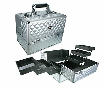 Professional Makeup Artist Travel Cosmetic Aluminum Silver Train Case 3Tier Side