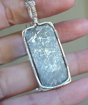 """GORGEOUS SS Wire Wrapped Gibeon  Meteorite Namibia Pendant  24"""" Chain"""
