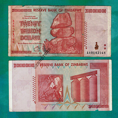 20 Trillion Zimbabwe Dollars Banknote - AA 2008 - *Damaged Condition* Currency