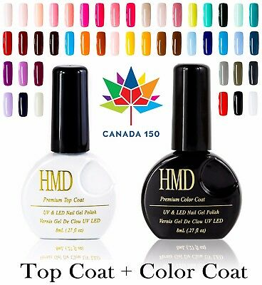 Value Pack Canada HMD Soak Off  UV LED Gel Nail Polish with no wipe Top coat