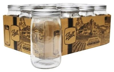 Ball - Smooth Sided Wide Mouth Quart Mason Jars - 12 Count
