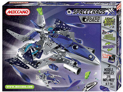 Meccano Space Chaos Silver Force #7101 270 Pieces 3 Trading Cards New Sealed