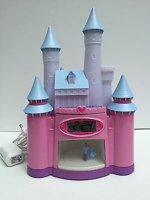 Disney Princess Cinderella Castle Alarm Clock Dancing Light Display & Stories