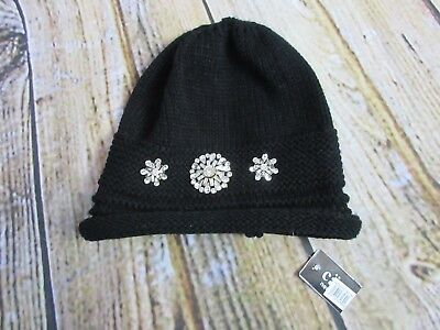 NORDSTROM CARA WOMENS Hat Beanie One Size Fits All Black Rhinestone ... 90701cde92d