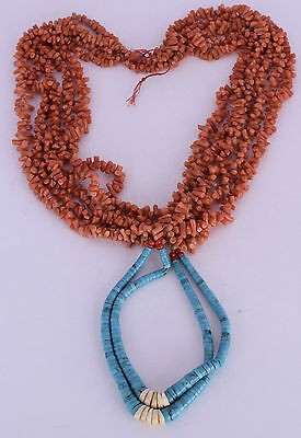 Old Native American, HUGE 5 strand coral ceremonial necklace W Turquoise beads