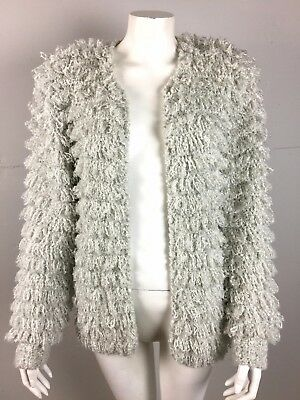 Vtg 90s Shaggy Furry Fuzzy Light Gray Cardigan Sweater Loop Knit Raver Clubkid M