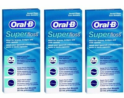 Oral B Dental Essential Floss, Super-Floss, Satin Tape (Pack of 3)