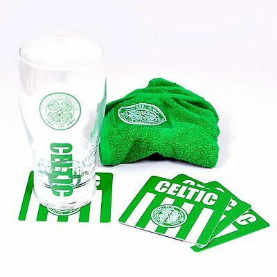 Celtic FC Official Wordmark Mini Football Bar Set (Pint Glass, Towel & Beer Mats