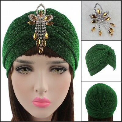 Women Lurex Shiny Indian Cap Glitter Turban Chemo Hat Muslim Hijab Pin Brooch