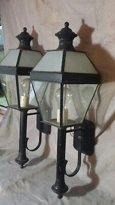 """25"""" Vtg PAIR OF OUTDOOR PORCH/PATIO LIGHT FIXTURES LANTERN frosted GLASS SCONCE"""