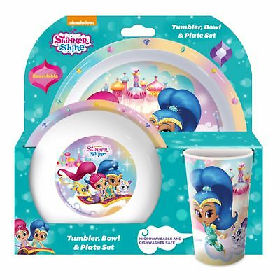 Shimmer And Shine Childrens/Girls Official 3 Piece Dinner Set