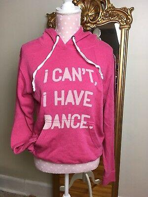 Womens S Covet I Can't I Have Dance Pink Hoodie Sweatshirt Ballet Coverup Warmup