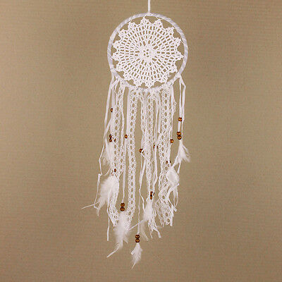 White Lace Ribbon Crochet Dreamcatcher Baby Nursery Hippy Boho Wedding Mobile