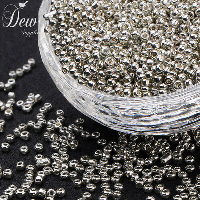 2mm Silver Glass Seed Beads Silver 50g for Necklaces Bracelets FREE POSTAGE