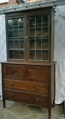 Antique Edwardian solid oak chest of drawers and bookcase