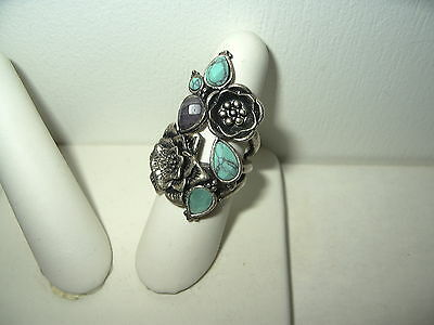 Vintage Distressed Silvertone LUCKY BRAND Faux Turquoise-Amethyst Flower Ring