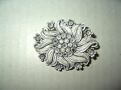 Vintage White & Gray Celluloid Old Plastic Flower Brooch Pin