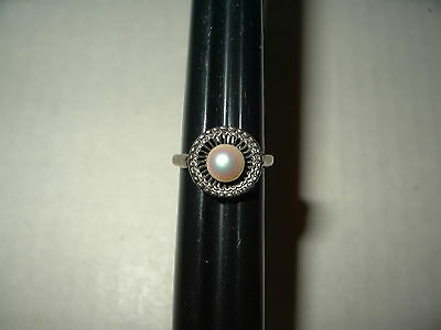 Vintage Signed COL STERLING Silver & Cultured Pearl Ring Size 5 1/4 - 3.3 Grams