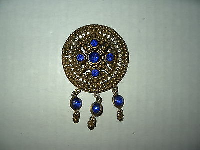 Vintage Victorian Goldtone Clear & Blue Crystal Brooch Pin - C Clasp